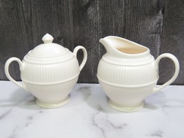 Wedgwood Creamer and Sugar Bowl with Lid Windsor Round Ribbed England - $41.58