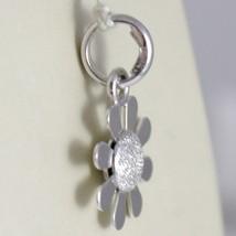 White Gold Pendant 750 18k Flower Daisy Pendant Satin 2 cm long image 2