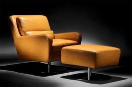 Moroni Swan 550 Honey Top Grain Leather Upholstery Mid-Century Swivel Chair - $1,377.50