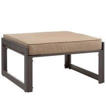 Modway Fortuna Aluminum Outdoor Patio Ottoman in White Gray - €217,96 EUR