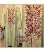 Pakistani Light Green Net Open ALine Shirt Suit, with Thread, Beads, & S... - $108.00