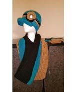 Teal, Black & GoldHandmade Crochet Hat, Cowl & ... - $60.00