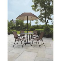 Outdoor Patio Dining Set 6 Piece Umbrella Folding Garden Yard Furniture  - $199.99