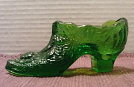 Vintage Kanawha Glass Slipper Shoe // Green Glass Roses Leaves Decorativ... - $12.00