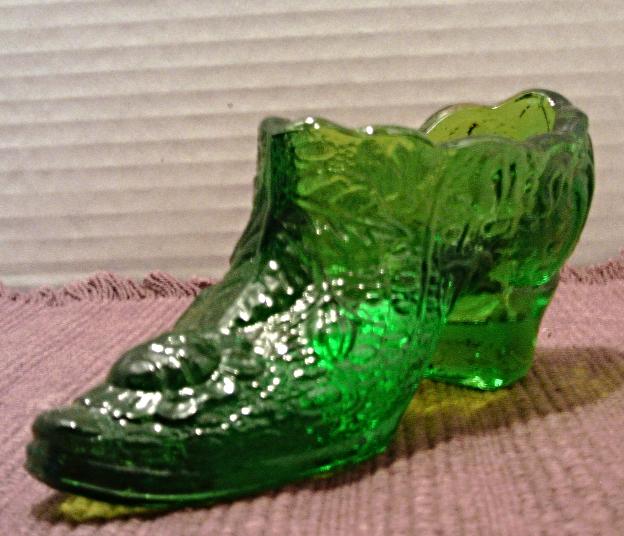 Vintage Kanawha Glass Slipper Shoe // Green Glass Roses Leaves Decorative Shoe