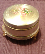 Vintage Metal Powder Puff Box With Legs // Small Floral Design Round Pow... - $9.95