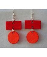 Rectangle Round Earrings Circle Hoop Red Orange Hand Painted Wood Dangle... - $36.00