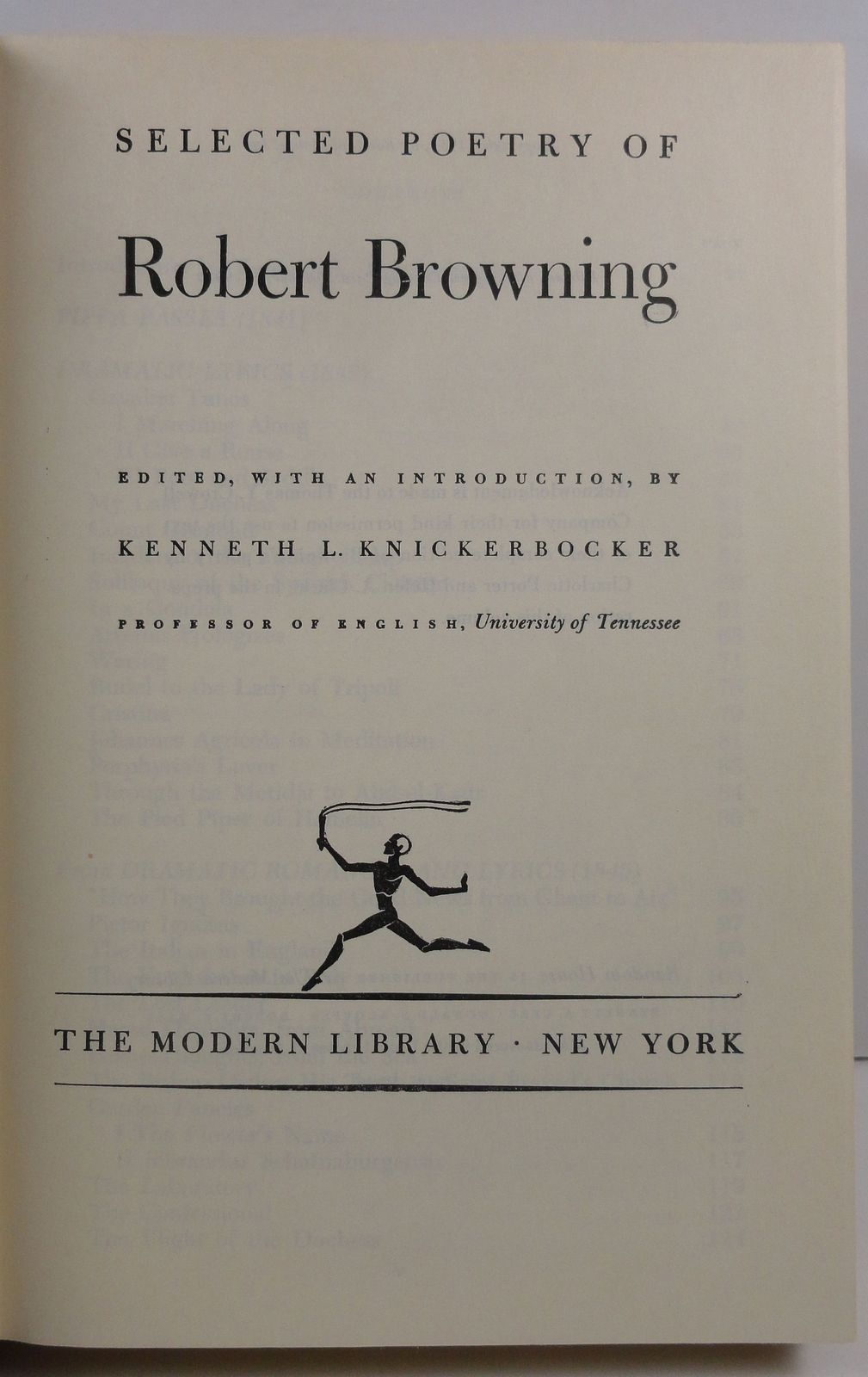 The Selected Poetry of Robert Browning Modern Library HC/DJ