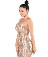 Rose Gold Sequined Strapless Nightclub Dress  - $41.95