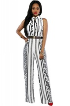 White Print Gold Belted Jumpsuit  - $31.95