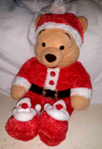 Winnie The Pooh Disney Store Christmas Holiday Santa Beanie Stuffed Plus... - $10.88