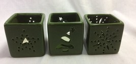 Christmas Tealight Candle Holder Set of 3. Ceramic, Green - $8.99