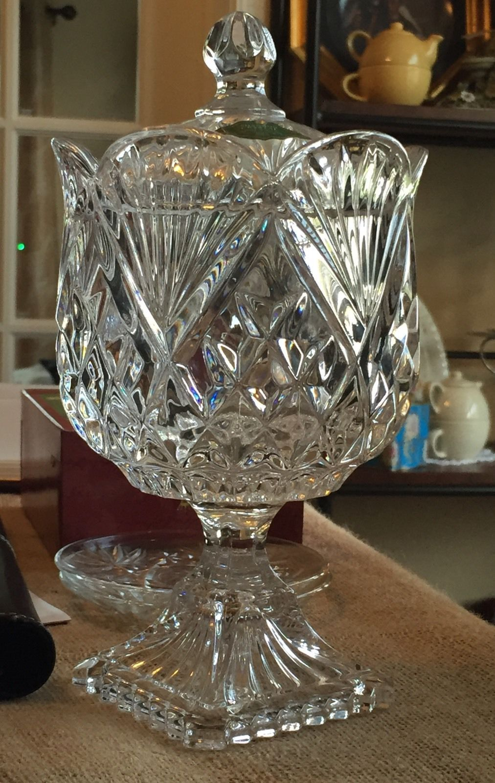 Primary image for Crystal Pineapple Footed Candy Box Dish With Lid Style #2630 EUC