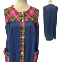 Vintage Mujer Vestido Botón Frontal Multicolor sin Mangas Hecho En USA T... - $25.86