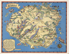 1931 Pictorial Map Hawaiian Island of Kauai Vintage Wall Art Poster Prin... - $12.38+