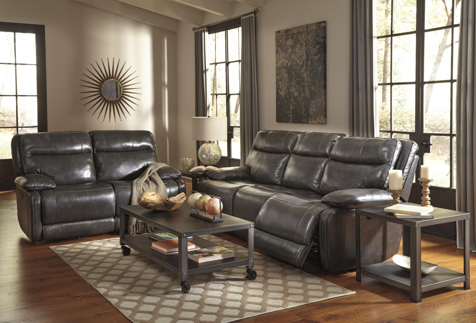 Ashley Palladum 2 Piece Living Room Set in Metal with Power Contemporary Style