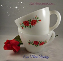 Fire King Anchor Hocking Coffee Tea Cocoa Cups Set Two Pink Roses Milkglass - $10.00