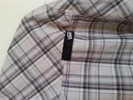 Vans Brand Pearl Snap Shirt L Western Vintage Clear Snaps Vans Plaid  Long Sleev - $5.94