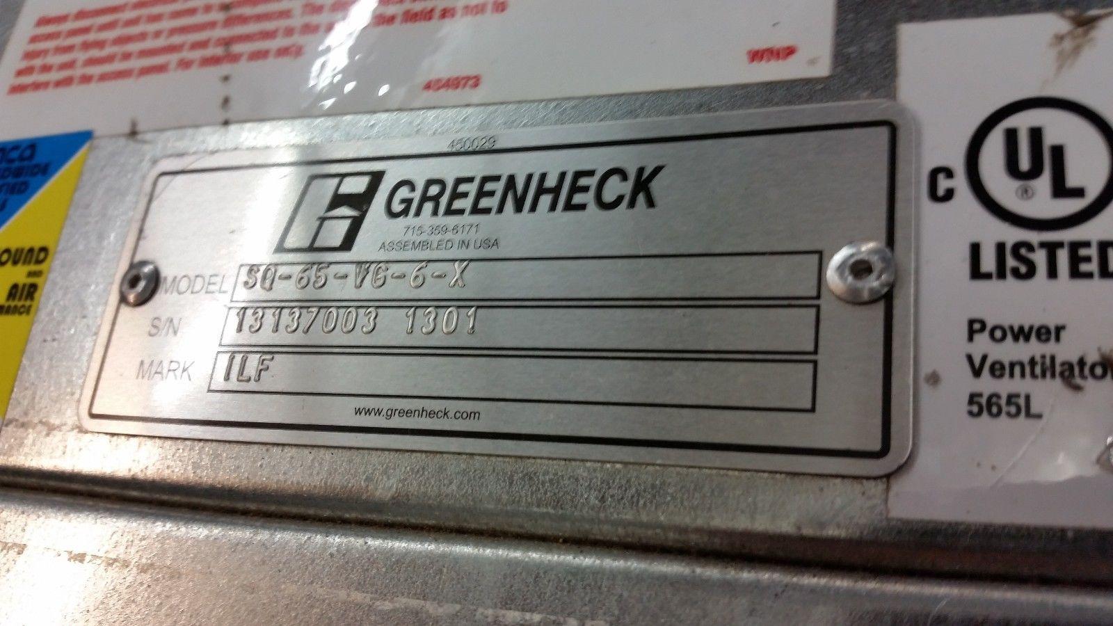 "GREENHECK  SQ-65-VG-6-X INLINE 9"" DUCT BOOSTER FAN 115V 1/6HP"