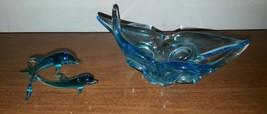 "Lot 2 Art Glass Blue Jumping Dolphin Figure 4""w x Check photos 2.5"" h an... - $18.67"