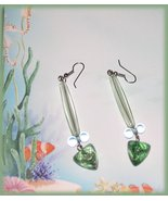 Dangle Earrings Clear Aqua Green Blue Beads Ocean Sea Colors - £7.33 GBP