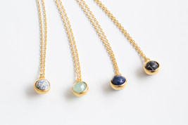 Ball Shape Gemstone Pendant Necklace, Sphere Gemstone (Howlite, Lapis La... - $14.00