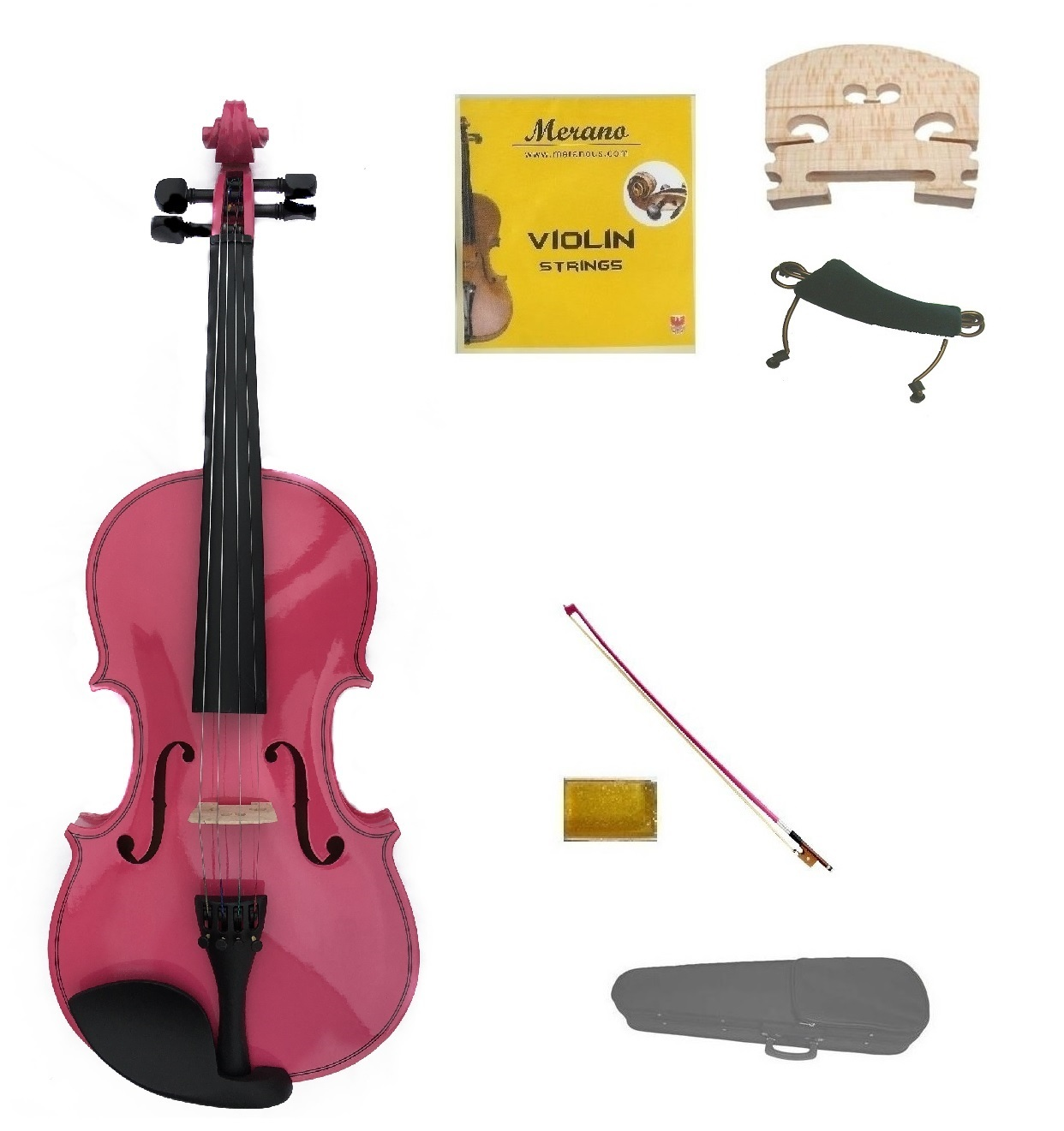 1/10 Size Pink Violin,Case,Pink Bow+Rosin+2 Sets Strings+2 Bridges+Shoulder Rest