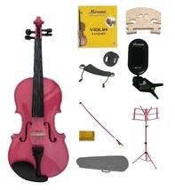 4/4 Pink Violin,Case,Pink Bow+Rosin+2Bridges+Tuner+Shoulder Rest+Pink Stand+Mute - $83.99
