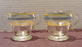 Vintage BLUE and GOLD Banded Sugar and Creamer Set, Clear Glass, Art Dec... - $14.00