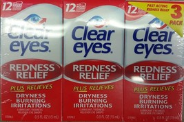 Clear Eyes Redness Relief Eye Drops - 0.5 oz. - 3 pk up to 12 hour relief - $13.36