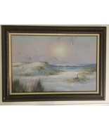 !!HUGE!!  Antique VINTAGE OIL PAINTING SIGNED C.MELTON- BEACH  43.5 By 3... - $2,474.99