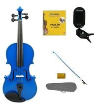 1/16 Size Blue Violin,Case,Blue Stick Bow+Rosin+2 Sets Strings+Clip On Tuner - $52.00