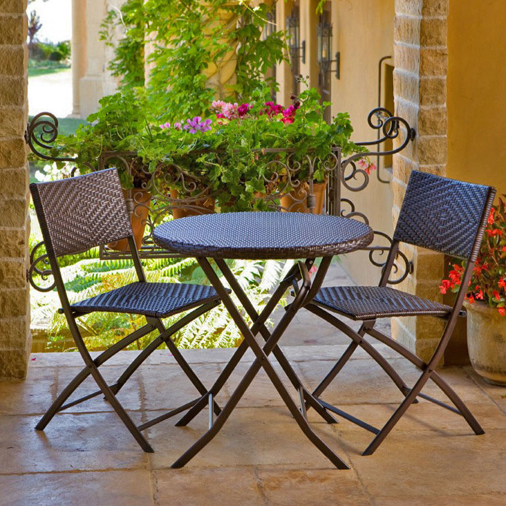 Outdoor Bistro Set Patio Furniture Garden Poolside Backyard Wicker 3 Piece
