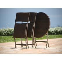 Outdoor Bistro Set Patio Furniture Garden Poolside Backyard Wicker 3 Piece  - $209.99