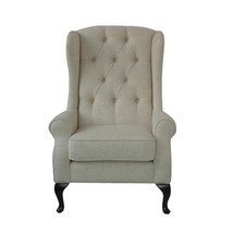 French Country Elegant Linen High Back Oak Frame Arm Chair,45''H. - $840.51