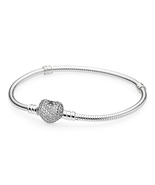 925 Sterling Silver Pave Heart Clasp with Clear CZ Bracelet QJBRC028 - $47.99