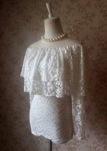 OFF SHOULDER Ivory White Lace Top Long Sleeve White Lace Bardot Top Plus Size image 2