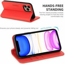 """SHIELDON iPhone 11 (5.8"""") Pro Case with Kickstand, Genuine Leather, Red image 6"""