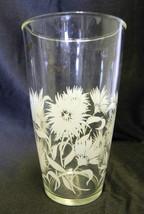 Hazel Atlas Glass White Gold Flower Floral Bar Pitcher Shaker Vintage Retro - $29.07