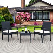 Outdoor 3pcs Rattan Patio Furniture Seat Cushioned Set For Backyard Gard... - $141.36