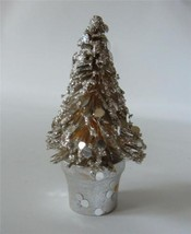 "Vintage Japan Bottle Brush Xmas Tree Silver Glitter Confetti 4 1/4"" Miniature - $21.77"