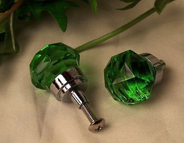 Lot of 8 Small Green Solid Crystal Glass Drawer Pull, Cabinet Knobs - $34.64
