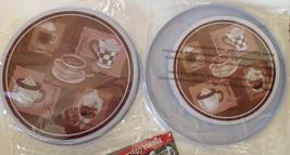 "Stove Burner Covers NEW Set 4 Coffee Cappuccino Java 2 Each 10"" 8"" Metal... - $20.74"