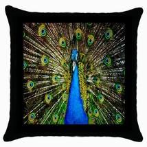 Peacock Head Photo Black Cushion Cover Throw Pillow Case - $15.00