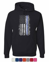 Thin Blue Line American Flag Hoodie Stars and Stripes Police Sweatshirt - $22.02+
