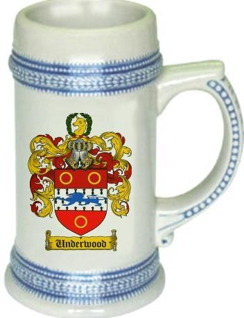 Underwood Coat of Arms Stein / Family Crest Tankard Mug