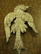 Silver vintage bird with rhinestones brooch - $36.62