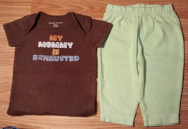 """Boy's Size 3-6 M Months 2 Pc Brown """"My Mommy Is Exhausted"""" Top & Green Pants - $10.40"""