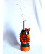 Wine Bottle Decorated Floral w Butterflies Dark Orange Trim Home Decor - $28.99