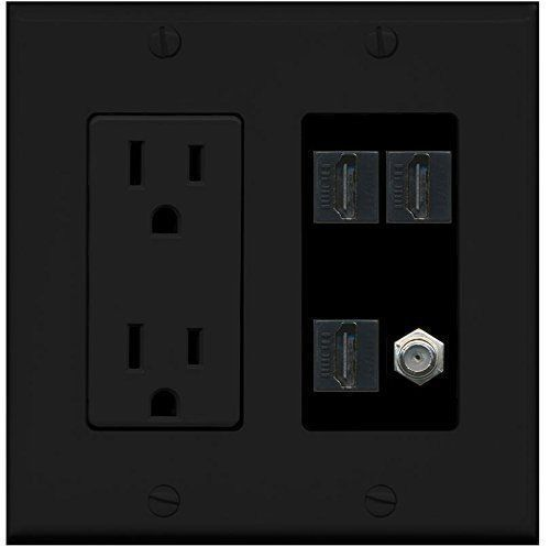 Riteav 2 gang decorative 15a power outlet 3 hdmi black coax black wall plate other computer - Smalle gang deco ...